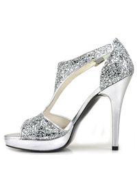 Stuart Weitzman - Metallic Loverly - Silver Glittered Sandal - Lyst