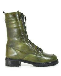 Stuart Weitzman - Green Workman - Olive Leather Combat Boot - Lyst
