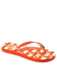Tory Burch | Orange Rubber Flip Flops | Lyst
