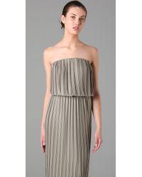 BCBGMAXAZRIA   Gray Strapless Pleated Maxi Dress   Lyst