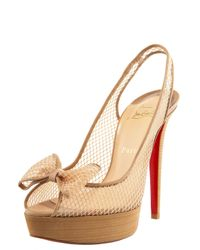 Christian Louboutin | Natural Fishnet Bow Slingback | Lyst