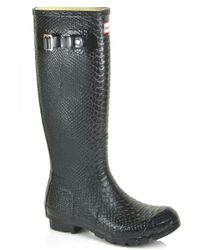 HUNTER | Boa Tall - Black Croco Embossed Rubber Boot | Lyst