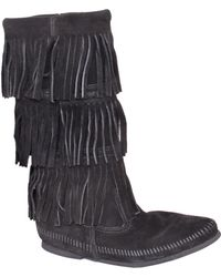 Minnetonka | Black Suede Fringe Boot | Lyst