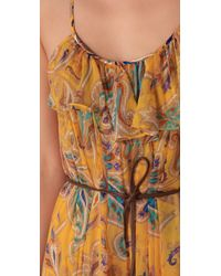 Tibi - Yellow Paisley Chiffon Long Dress - Lyst