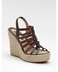 Elie Tahari | Brown Strappy Espadrille Wedge Sandals | Lyst