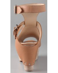 3.1 Phillip Lim - Brown Double Buckle Platform Sandals - Lyst
