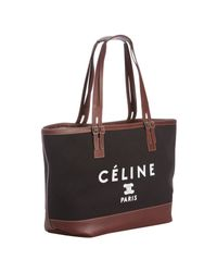 Céline | Black Canvas and Leather Logo Print Tote | Lyst