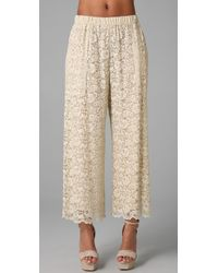 Dolce & Gabbana | Natural Lace Wide Leg Pants | Lyst