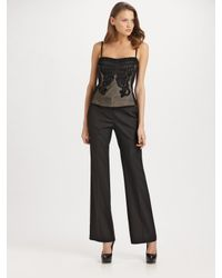 Elie Tahari | Black Carolina Embroidered Bustier Top | Lyst