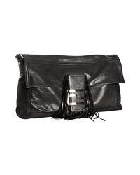 Fendi | Black Leather Metallic Fringe Flap Convertible Baguette | Lyst