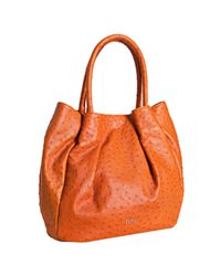 Furla | Orange Ostrich Embossed Pompidou Shoulder Bag | Lyst