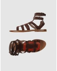 Philosophy di Alberta Ferretti - Brown Leather Gladiator Sandals - Lyst