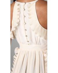 Tibi | Natural Halter Ruffle Dress | Lyst