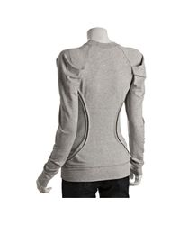 Torn | Gray Heather Grey Jersey Alex Pintucked Long Sleeve Sweatshirt | Lyst