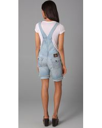True Religion - Blue Bridgette Boyfriend Overall Shorts - Lyst