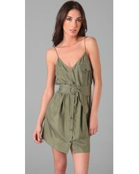 Zimmermann - Green Lyre Lyre Washed-silk Dress - Lyst