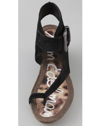 Sam Edelman - Black Nikola Suede Wedge Sandals - Lyst