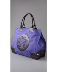 Tory Burch | Purple Ella - Mini Canvas Tote | Lyst