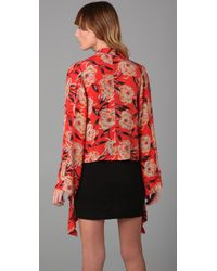 Winter Kate | Red Tamarin Floral Shrug with Neck Tie | Lyst