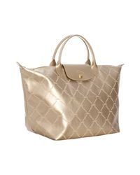 Longchamp | Metallic Rose Gold Logo Print Coated Canvas Lm Medium Tote | Lyst