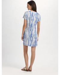 MICHAEL Michael Kors - Blue Villa Tie-dyed Frayed Neck Dress - Lyst