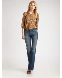 Tucker | Brown Leopard-print Silk Blouse | Lyst