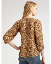 Tucker   Brown Leopard-print Silk Blouse   Lyst