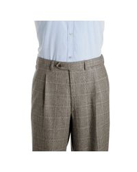 Brioni - Gray Light Grey Windowpane Check Wool 3-button Traiano Suit with Single Pleat Trousers for Men - Lyst
