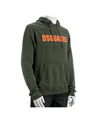 DSquared² | Dark Green Cotton Logo Hoodie for Men | Lyst
