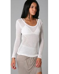 Helmut Lang - White Paneled Lace Racerback Sweater - Lyst