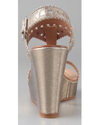 Sigerson Morrison - Metallic Mosaic T Strap Wedge Sandals - Lyst