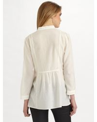 Theory - White Aldys Cotton-silk Shirt - Lyst
