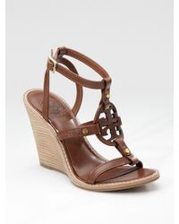 Tory Burch | Brown Edna Logo Wedge Sandals | Lyst