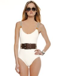 Michael Kors | White Belt-shoulder Swimsuit, Branch | Lyst