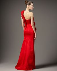 Redux Charles Chang-lima - Red One-shoulder Chiffon Ruffle Gown - Lyst