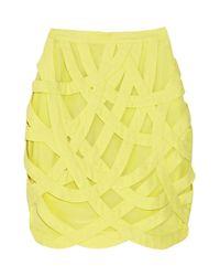 Adam Lippes | Yellow Cutout Overlay Crepe Skirt | Lyst