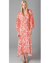 Alice + Olivia | Orange Hadley Long Kimono Dress | Lyst