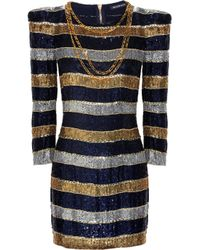 Balmain | Blue Pleated Satin-jersey Dress | Lyst