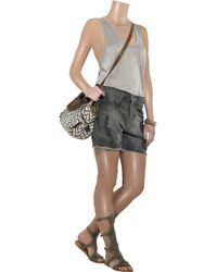Current/Elliott | Gray The Scout Mid-rise Distressed Shorts | Lyst