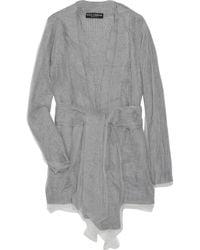 Dolce & Gabbana | Gray Mesh Overlay Woven Sweater | Lyst