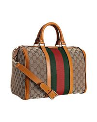 Gucci | Brown Tobacco Trim Gg Canvas Vintage Web Boston Bag | Lyst