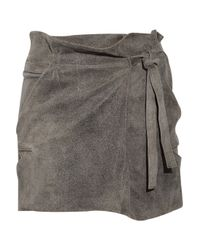 IRO | Gray Litov Leather Paperbag Skirt | Lyst