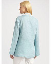 Lafayette 148 New York - Blue Kiley Beaded Linen Tunic Top - Lyst