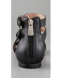 Pour La Victoire - Black Bryn Buckle Flat Sandals - Lyst