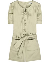 See By Chloé | Brown Cotton-blend Lace-front Playsuit | Lyst