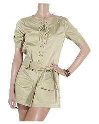 See By Chloé - Brown Cotton-blend Lace-front Playsuit - Lyst