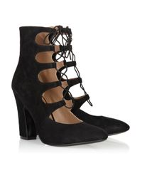 Sigerson Morrison | Black Lace-up Suede Ankle Boots | Lyst