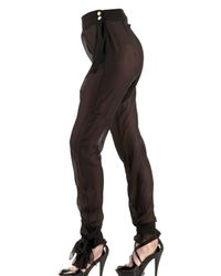 Francesco Scognamiglio | Black Crepe Chiffon Trousers | Lyst