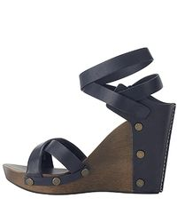 See By Chloé | Blue - Navy Wood Wedge Sandal | Lyst