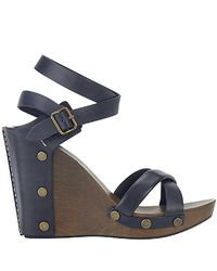 See By Chloé - Blue - Navy Wood Wedge Sandal - Lyst